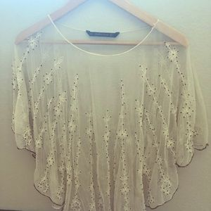 Zara embroidered off white top